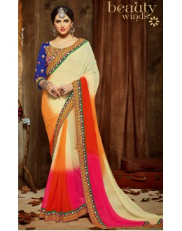 Party Wear Multicolour Chiffon Saree  - 806