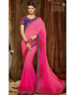 Ethnic Wear Pink & Blue Georgette Saree  - 807
