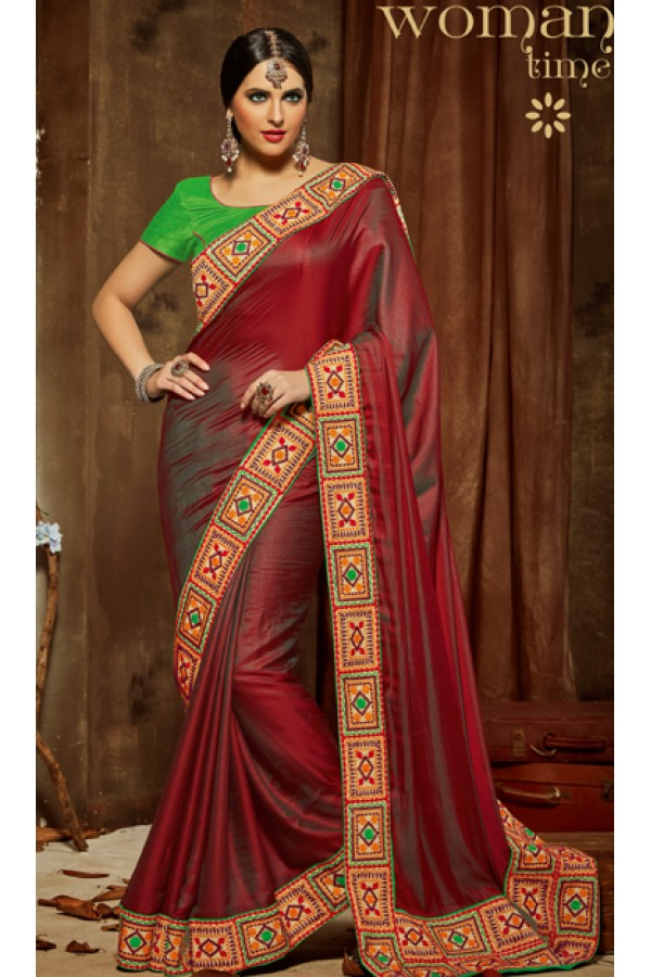 Party Wear Red & Green Shine Chiffon Saree  - 810