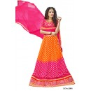 Festival Wear Pink & Orange Lehenga Choli - 12001