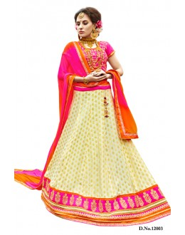 Festival Wear Pink & White Lehenga Choli - 12003