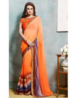 Ethnic Wear Orange Georgette Saree  - 4102