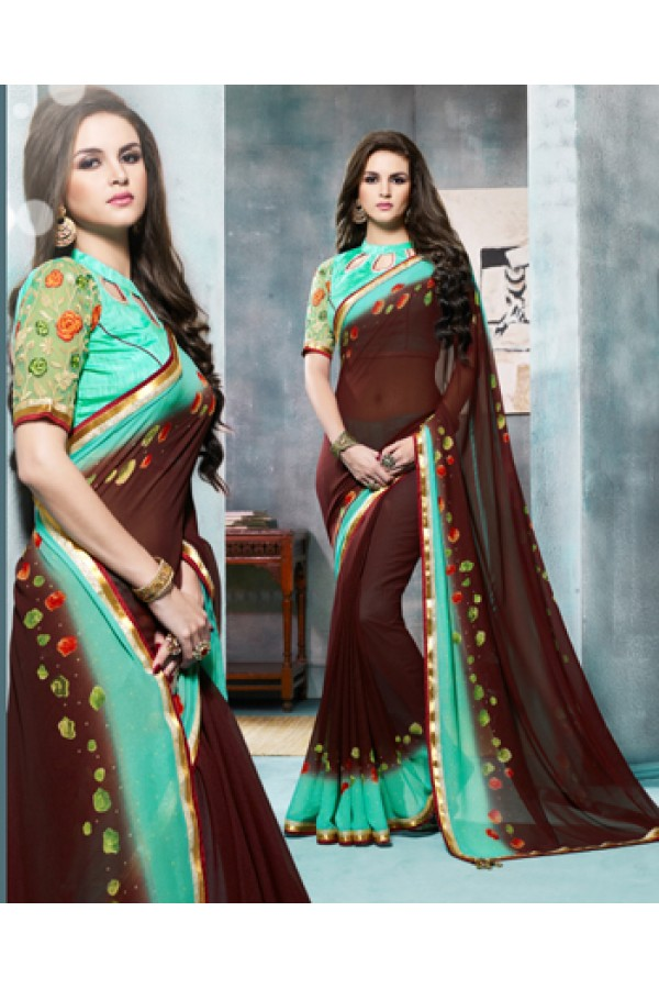 Festival Wear Brown & Turquoise Georgette Saree  - 4104