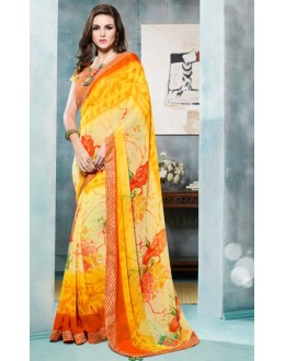 Casual Wear Yellow Georgette Saree  - 4106