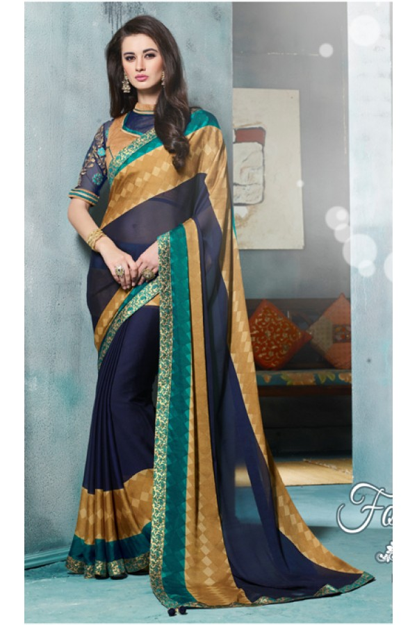 Party Wear Blue & Gold Jacquard Georgette Saree  - 4111