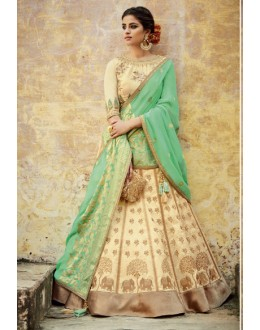 Bridal Wear Cream Lehenga Choli - KIMORA-L-507