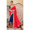 Wedding Wear Red & Blue Saree - KIMORA-SA-65