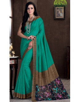 Ethnic Wear Green Bhagalpuri Khadi Silk Saree  - 1805-A
