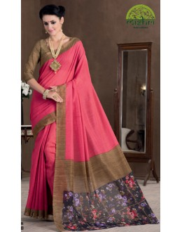 Party Wear Pink & Gold Bhagalpuri Khadi Silk Saree  - 1805-B