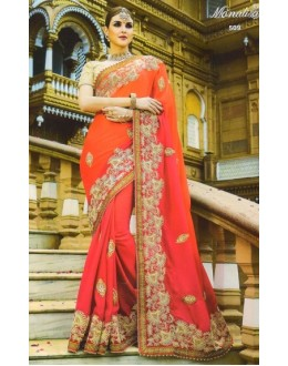 Party Wear Pink Moss Georgette Saree  - 509