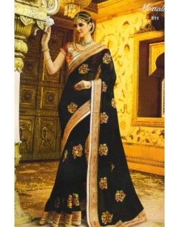 Party Wear Black Georgette Saree  - 511