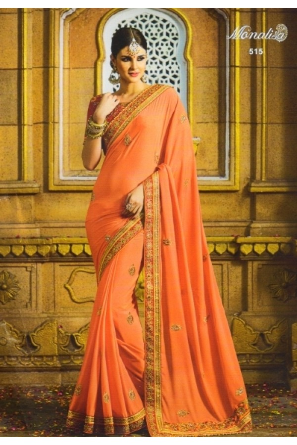 Ethnic Wear Peach Moss Georgette Saree  - 515