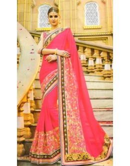 Party Wear Pink Georgette Saree  - 519