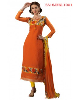Ethnic Wear Orange Chanderi Cotton Salwar Suit  - SS16JNGL1001