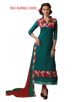 Office Wear Green Chanderi Cotton Salwar Suit  - SS16JNGL1002