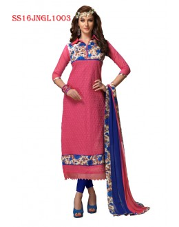 Festival Wear Pink Chanderi Cotton Salwar Suit  - SS16JNGL1003