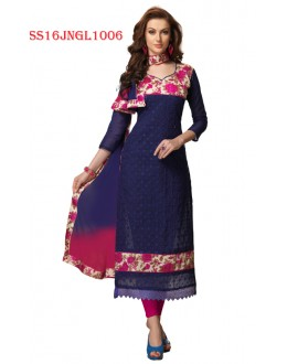 Festival Wear Blue Chanderi Cotton Salwar Suit  - SS16JNGL1006
