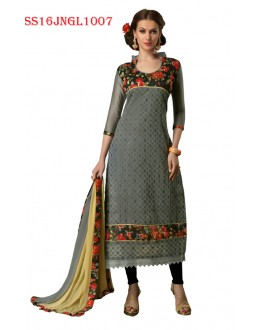 Party Wear Grey Chanderi Cotton Salwar Suit  - SS16JNGL1007