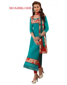 Festival Wear Sky Blue Chanderi Cotton Salwar Suit  - SS16JNGL1008