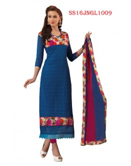 Ethnic Wear Blue Chanderi Cotton Salwar Suit  - SS16JNGL1009