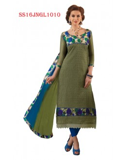 Office Wear Green Chanderi Cotton Salwar Suit  - SS16JNGL1010