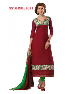 Festival Wear Maroon Chanderi Cotton Salwar Suit  - SS16JNGL1011