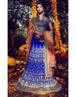 Traditional Blue & Peach Lehenga Choli - NAKKASHI-10012
