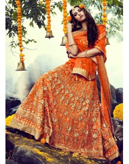 Bridal Wear Orange Lehenga Choli - NAKKASHI-10015