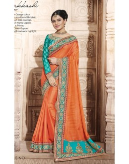 Party Wear Orange Handloom Silk Art Saree  - 4076