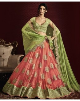 Wedding Wear Peach & Green Net Lehenga Choli - 5056