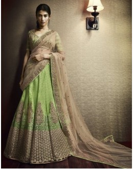 Wedding Wear Green & Beige Velvet Lehenga Choli - 5058