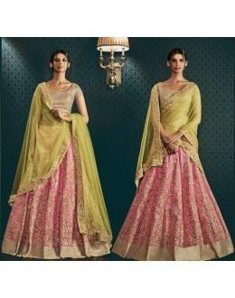Bridal Wear Pink & Green Paris Silk Lehenga Choli - 5059