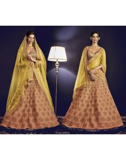 Ethnic Wear Peach & Yellow Italian Silk Lehenga Choli - 5062