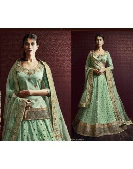 Festival Wear Pista Green Net Embroidered Lehenga Choli - 5068