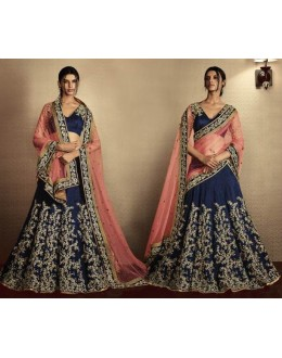 Bridal Wear Navy Blue & Peach Bhagalpuri Lehenga Choli - 5073