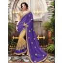 Party Wear Purple & Beige Embroidery Saree  - PATANG-19002