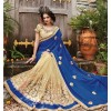 Festival Wear Blue & Beige Embroidery Saree  - PATANG-19005