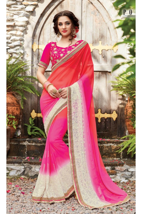 Party Wear Multi-Colour Saree  - PATANG-19006