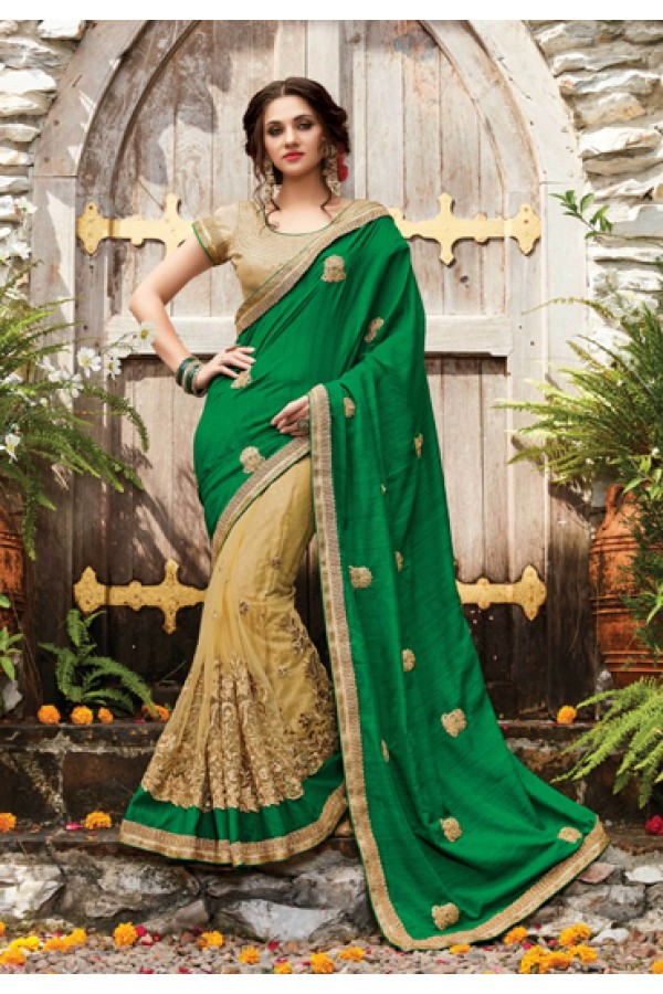 Festival Wear Green & Beige Saree  - PATANG-19010