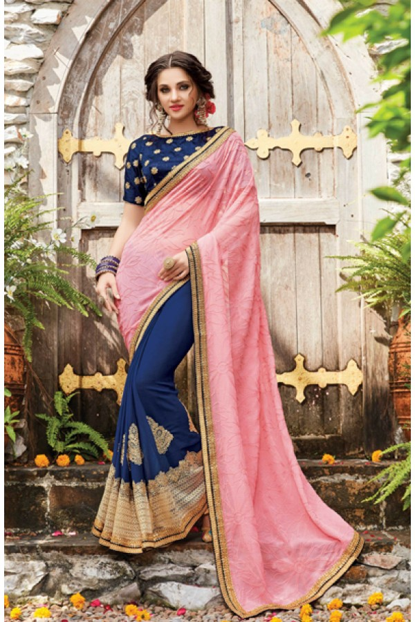 Multi-Colour Pure Georgette Half & Half Saree  - PATANG-19013