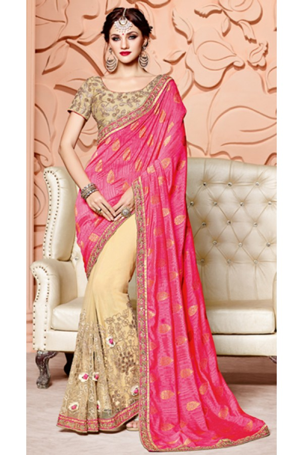 Festival Wear Pink & Beige Pure Silk Saree  - 3506