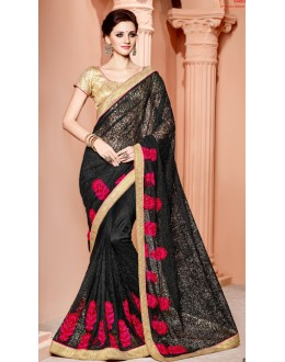 Ethnic Wear Black & Golden Net Saree  - 3508