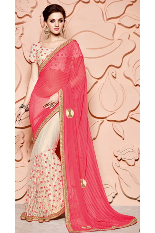 Ethnic Wear Pink & Cream Pure Chiffon Saree  - 3513