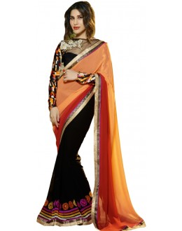 Designer Black & Peach Georgette Embroidered Party Wear Saree -76(SS-Karma)