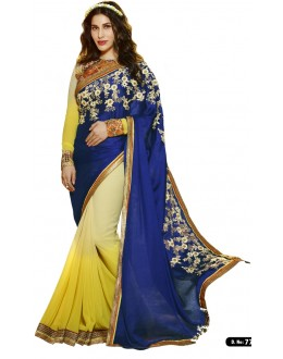 Designer Yellow & Navy Blue Georgette Embroidered Party Wear Saree -77(SS-Karma)