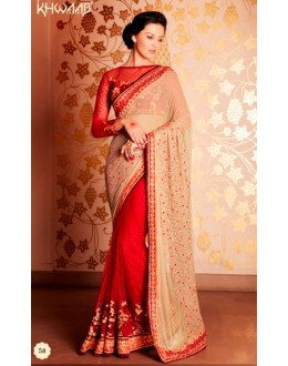 Designer Beige & Red Resham Embroidered Net Georgette Lehenga Style Saree - 58 ( SS - KHWAB - 54 )