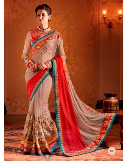 Designer Grey & Red Resham Embroidered Net Georgette Saree - 60 ( SS - KHWAB - 54 )