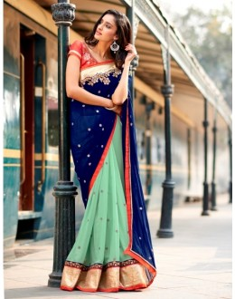 Party Wear Georgette Blue Saree - 4054