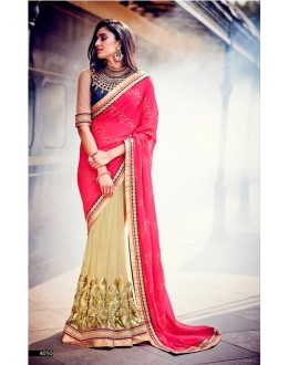 Party Wear Georgette Pink Saree - 4050