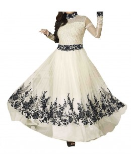 Designer Gorgeous White Net Salwar Suit - EF157